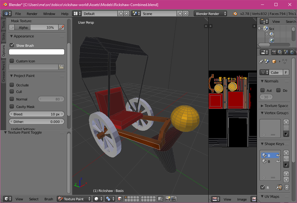 Rickshaw modeling in Blender